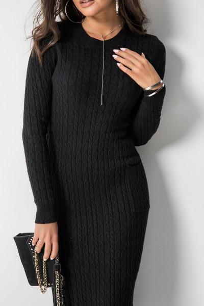 Giselle Sukienka Midi Warkocz Czarna
