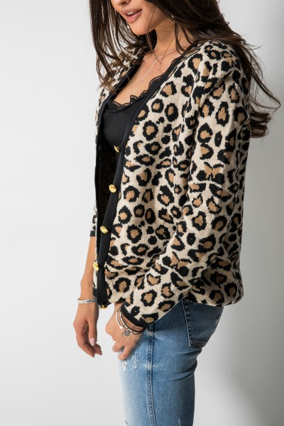 Klasyczny Sweter Guziki Panther