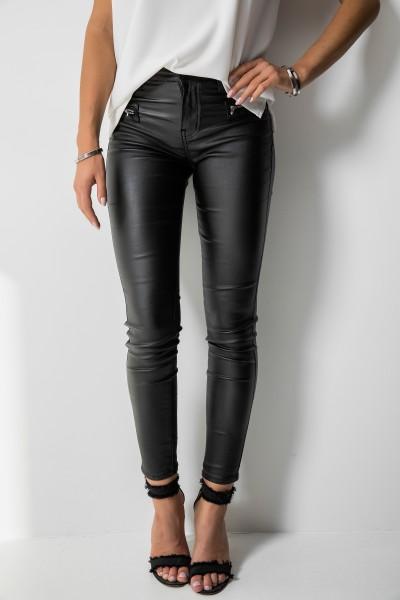 3D-6781 Spodnie Woskowane Czarne