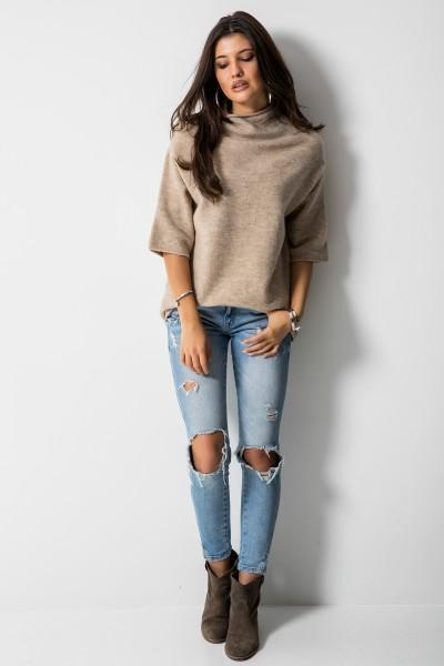 Sweter Stójka Beż