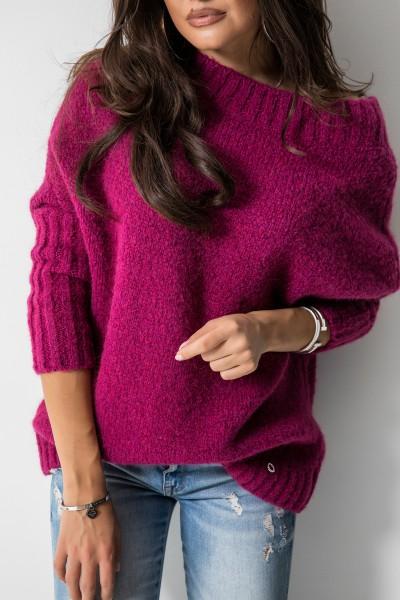 Sweter Logo Ciemny Róż
