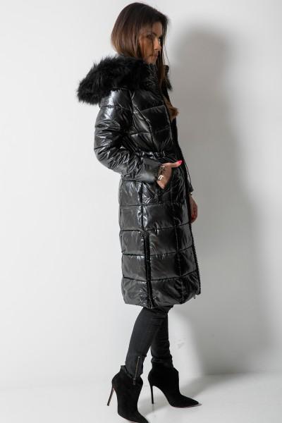 6817 Płaszcz Puchowy Futro Czarny