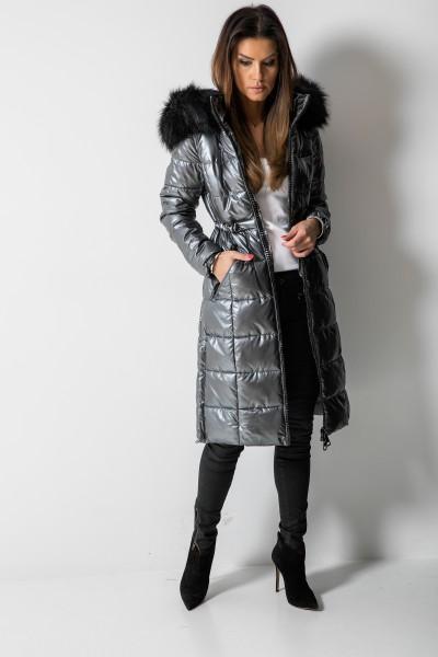 Płaszcz Pikowany Futro Czarny