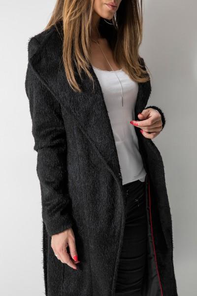 Wiązany Płaszcz z Długim Włosem Czarny