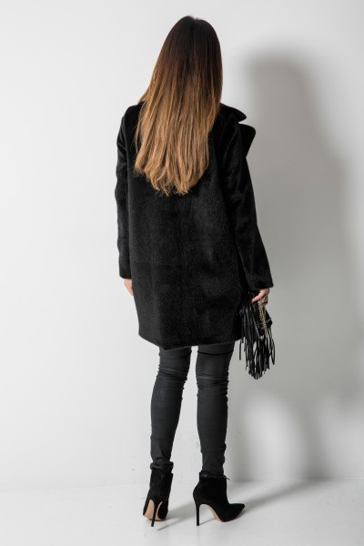 Krótki Płaszcz z Włosem Czarny