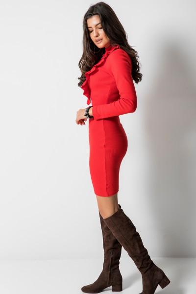 Dopasowana Sukienka Midi Falbanka Czerwona