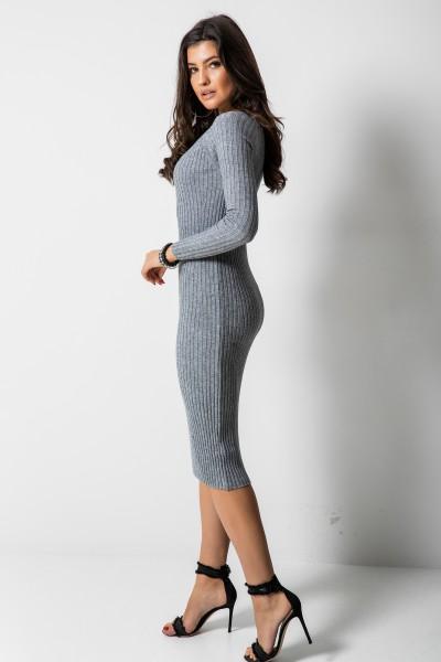 2611 Dopasowana Sukienka Szara