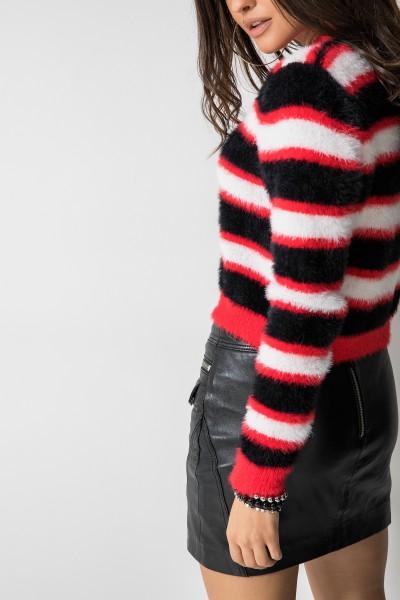 Bonnie Krótki Sweter Paski Red