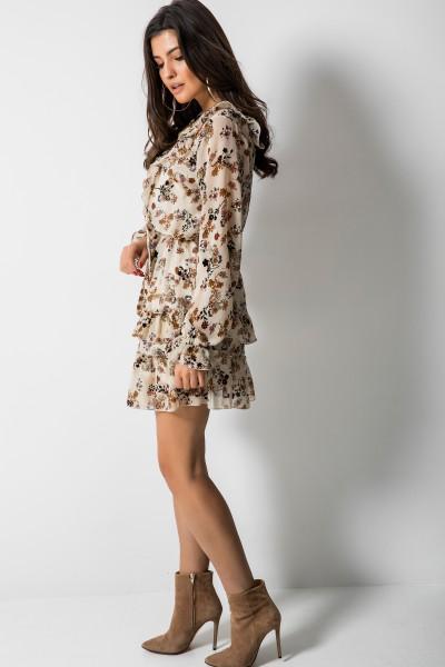 Hazel Sukienka Kwiaty Ecru