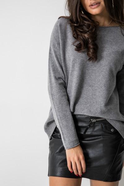 7709 Sweter Oversize Szary