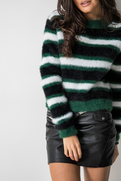 Krótki Sweter Paski Green