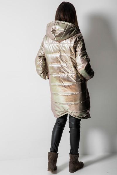03 Asymetryczny Płaszcz Pikowany Metalic Sand