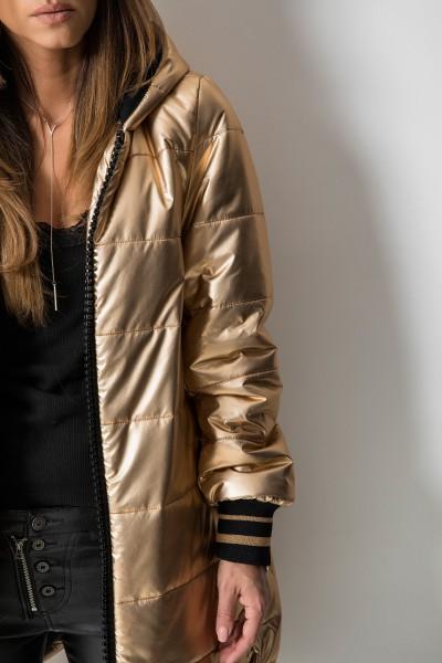03 Asymetryczny Płaszcz Pikowany Gold