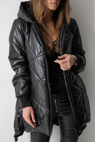 01 Asymetryczny Płaszcz Pikowany Romby Czarny