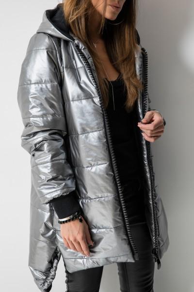 03 Asymetryczny Płaszcz Pikowany Silver