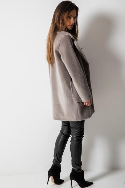 Krótki Płaszcz z Włosem Szary