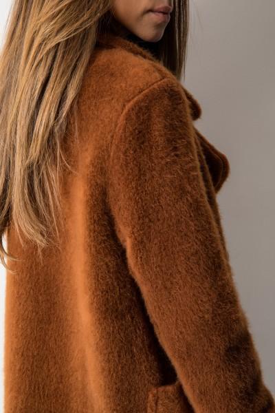 Klasyczny Płaszcz z Włosem Brąz