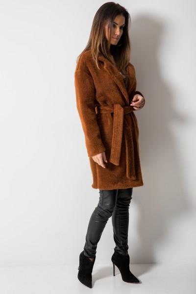 Wiązany Płaszcz z Włosem Brąz