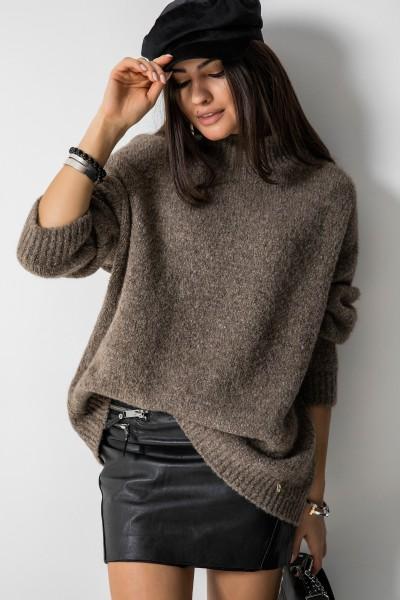 Dallas Oversizowy Sweter Mokka
