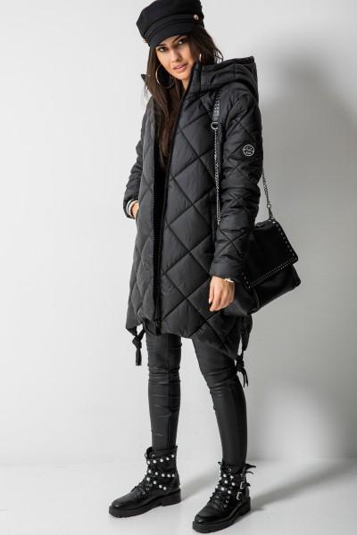 Pikowany Płaszcz Romby Black