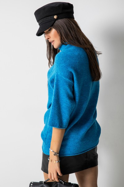 Sweter Stójka Niebieska