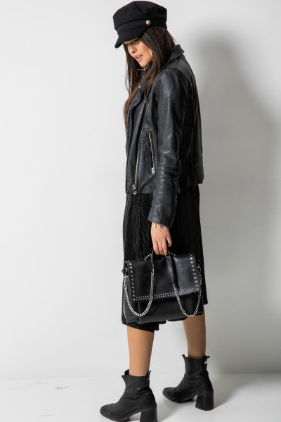 Plisowana Spódnica Midi Black