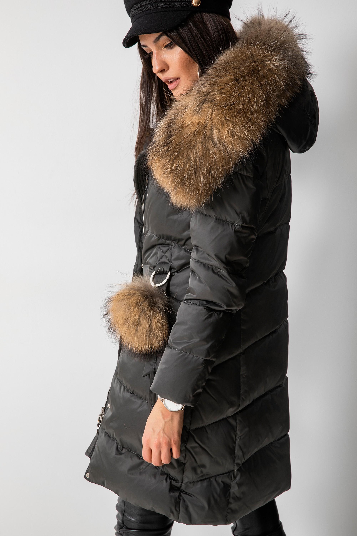 Płaszcz Puchowy z Jenotem Khaki