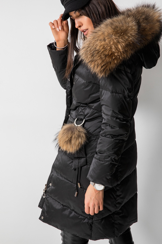 Płaszcz Puchowy z Jenotem Czarny
