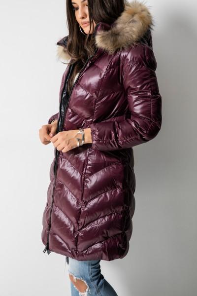 LC2856-1 Płaszcz Puchowy Bordo