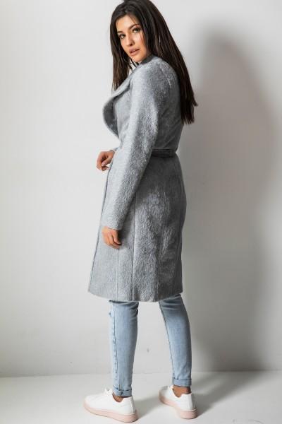 Wiązany Płaszcz z Długim Włosem Szary