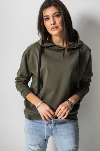 Asymetryczna Bluza Kaptur Khaki