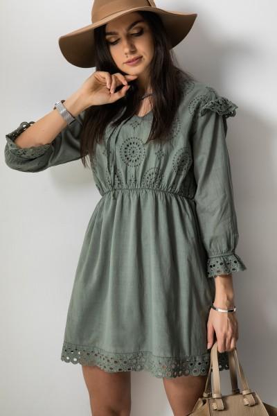 Catalina Ażurowa Sukienka Khaki