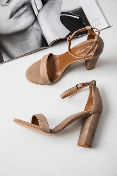 Sandałki Skórzane Cappuccino