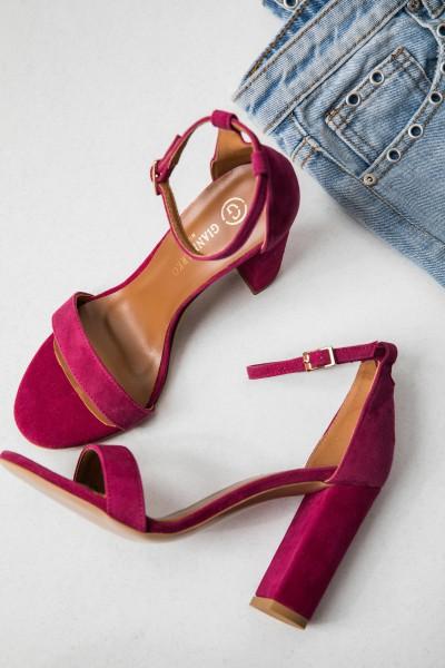 Sandałki Skórzane Fuksja