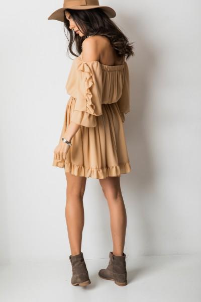 Lupita Sukienka Hiszpanka Camel