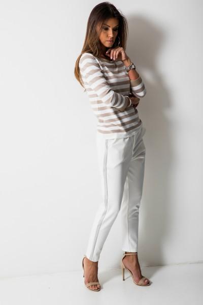 Sweter Paski White/Beige