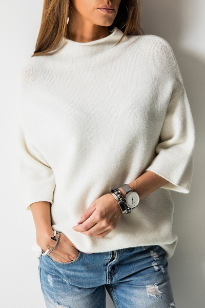 Sweter Stójka Ecru
