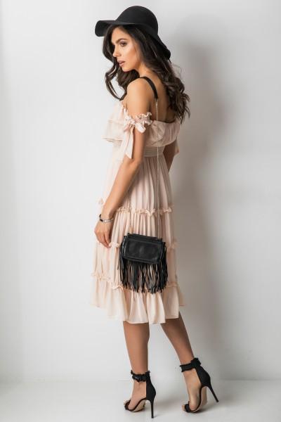 Felipina Sukienka Hiszpanka Midi Pudrowy Róż