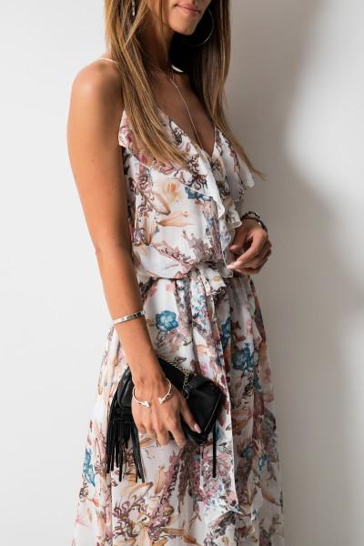 Scarlett Sukienka Maxi Kwiaty Ecru