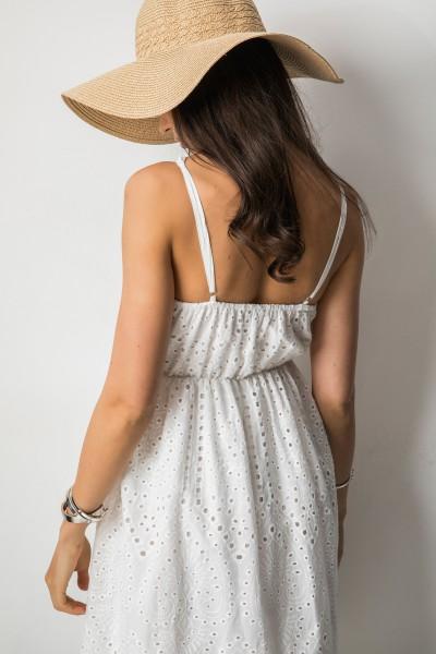 G165 Ażurowa Sukienka Midi Biel