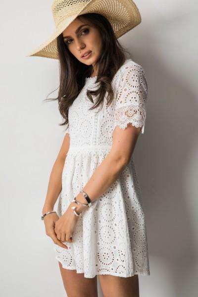 Abbie Sukienka Ażurowa Biała