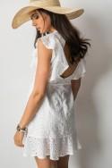 Celine Ażurowa Sukienka Biel