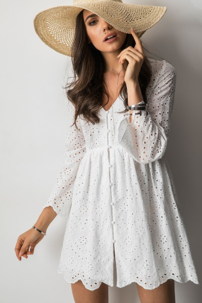 Kimber Ażurowa Sukienka Biel
