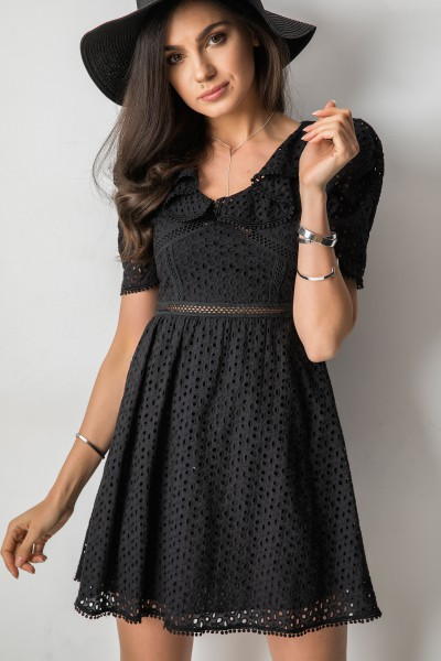 Evelis Ażurowa Sukienka Czarna