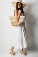 Keren Ażurowa Spódnica Maxi Whie