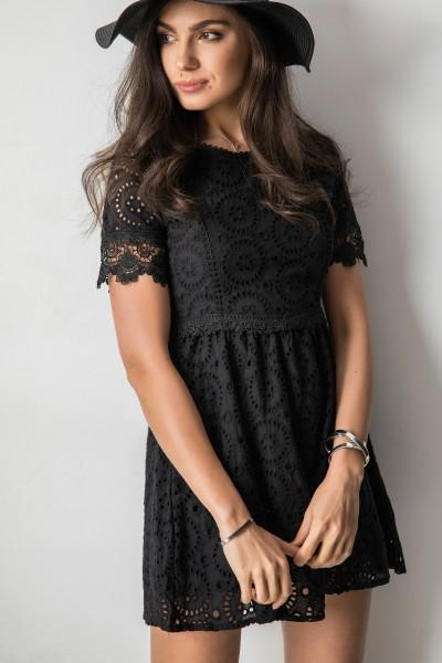 Abbie Ażurowa Sukienka Czarna