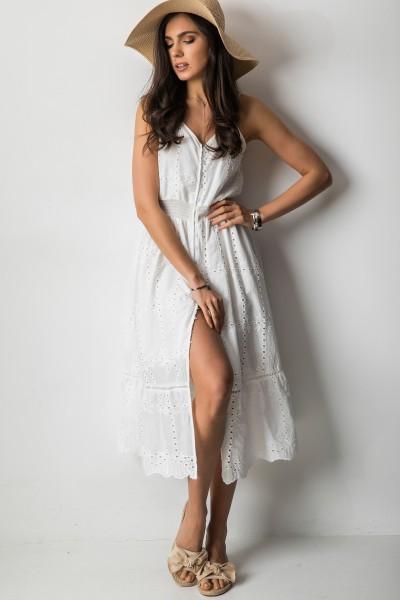 Corita Ażurowa Sukienka Midi Biel