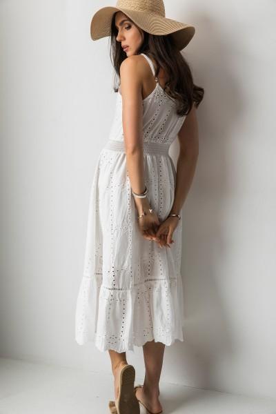 5447174ac9 Corita Ażurowa Sukienka Midi Biel Corita Ażurowa Sukienka Midi Biel
