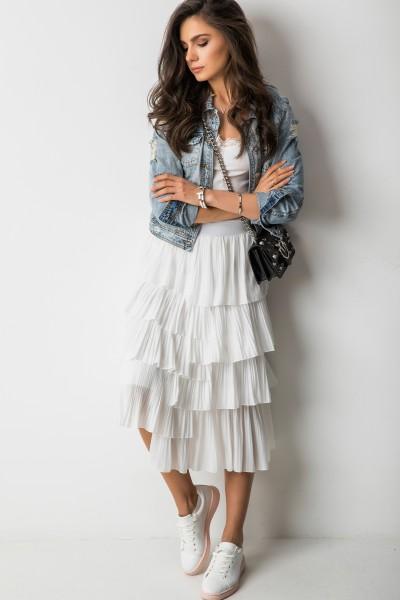 Asymetryczna Spódnica Midi Biel