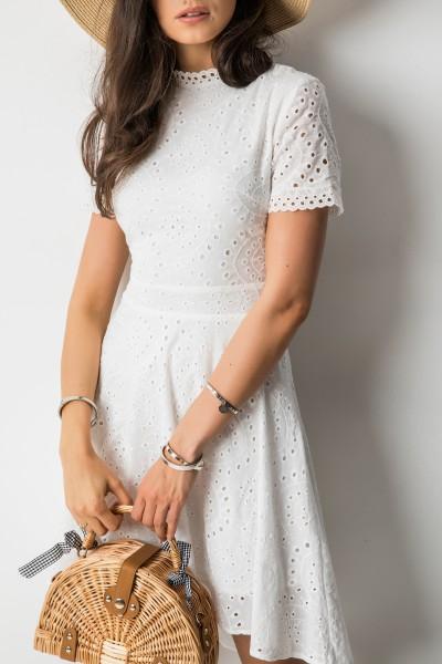 Teddy Ażurowa Sukienka Biel